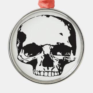 Ornement Rond Argenté Crâne
