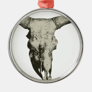 Ornement Rond Argenté Crâne de bison