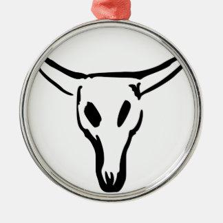 Ornement Rond Argenté Crâne de vache
