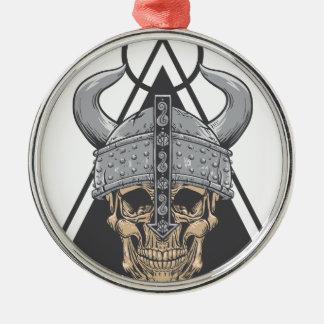 Ornement Rond Argenté Crâne de Viking