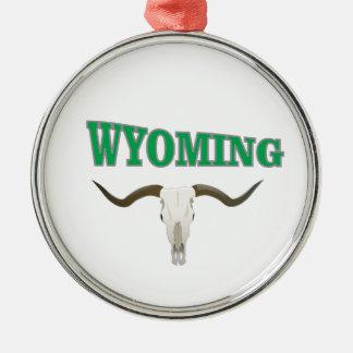 Ornement Rond Argenté Crâne du Wyoming