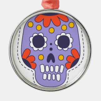 Ornement Rond Argenté Crâne peint par Mexicain