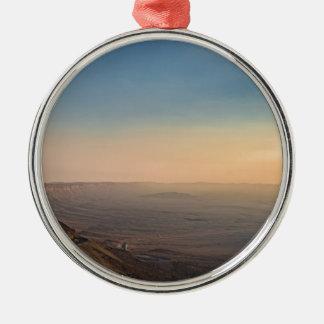 Ornement Rond Argenté Cratère de Mizpe Ramon, Israël