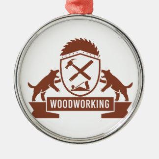 Ornement Rond Argenté Crête de travail du bois de diable tasmanien rétro