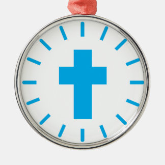 Ornement Rond Argenté Croix de Jésus-Christ