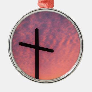 Ornement Rond Argenté croix et coucher du soleil
