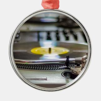 Ornement Rond Argenté Cru de vinyle de plaque tournante rétro de bruit