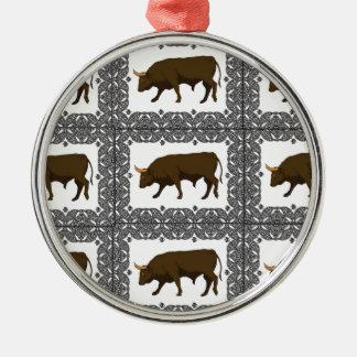 Ornement Rond Argenté cubes bruns en taureaux