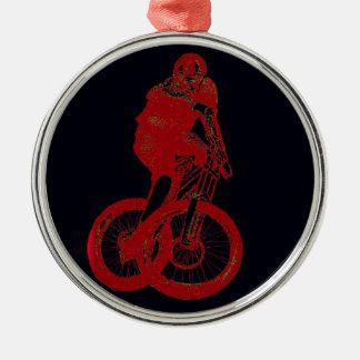 Ornement Rond Argenté CYCLISTE du cycliste MTB BMX de montagne