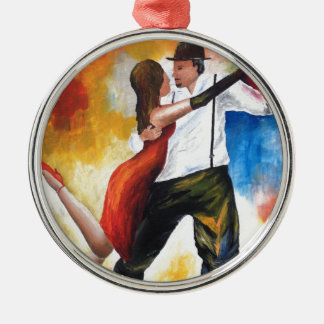 Ornement Rond Argenté Danse au rêve coloré d'amants de tango d'aube !