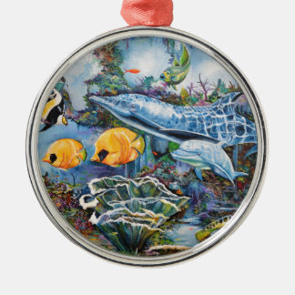 Ornement Rond Argenté Dauphin coloré et poissons tropicaux