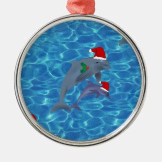 Ornement Rond Argenté dauphins du père noël