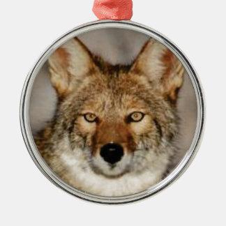 Ornement Rond Argenté de coyote fin