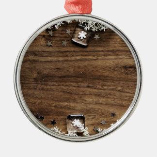 Ornement Rond Argenté décor en bois de joie de vacances de neige de Noël