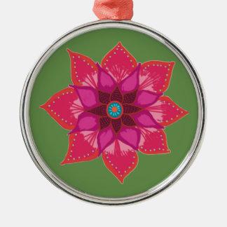 Ornement Rond Argenté Décoration en céramique de mandala d'art rouge de