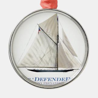 Ornement Rond Argenté défenseur 1895 de yacht