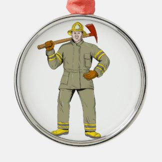 Ornement Rond Argenté Dessin américain de hache du feu de sapeur-pompier