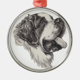 Ornement Rond Argenté Dessin classique de portrait de chien de St