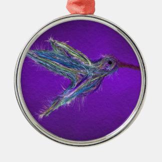 Ornement Rond Argenté Dessin de colibri