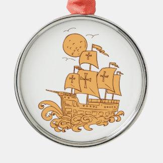 Ornement Rond Argenté Dessin de lune de bateau de navigation de