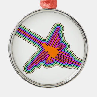 Ornement Rond Argenté Dessin du Pérou de colibri de Nazca