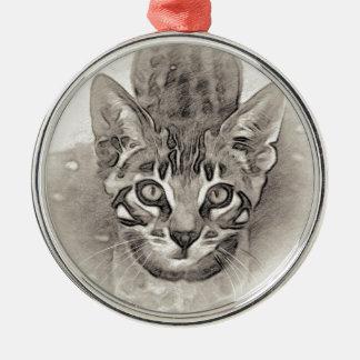 Ornement Rond Argenté Dessin mignon de chaton du Bengale