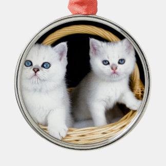Ornement Rond Argenté Deux chatons blancs dans le panier sur