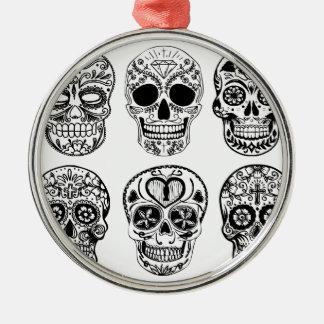Ornement Rond Argenté Dia de los Muertos Skulls (jour des morts)
