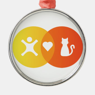 Ornement Rond Argenté Diagramme de Venn de chats de coeur de personnes
