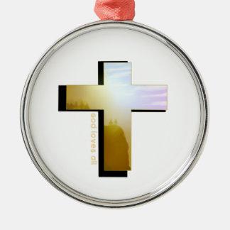 Ornement Rond Argenté Dieu aime tous