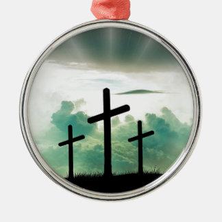 Ornement Rond Argenté Dieu croisé Jésus de foi du Christ opacifie la