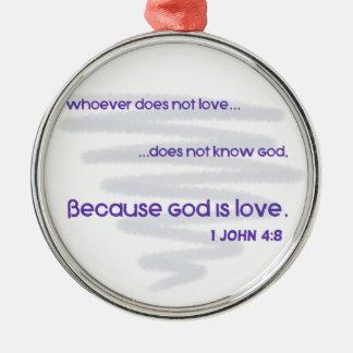 Ornement Rond Argenté Dieu est amour