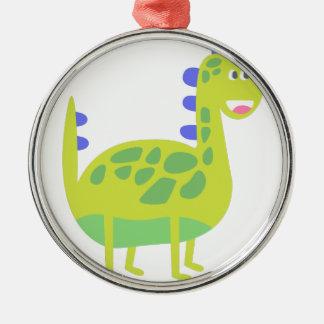 Ornement Rond Argenté Dinosaure vert drôle mignon