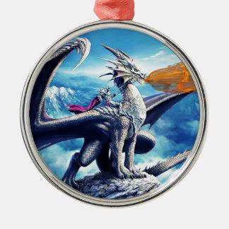 Ornement Rond Argenté dragon2