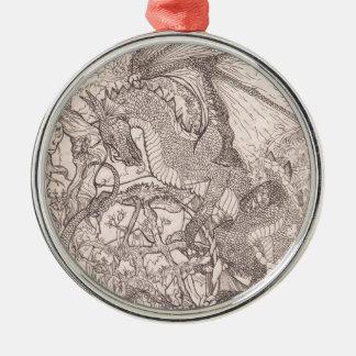 Ornement Rond Argenté Dragon avec la licorne de pentagone étoilé