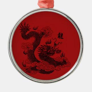 Ornement Rond Argenté Dragon chinois