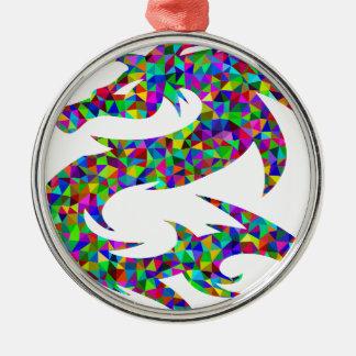 Ornement Rond Argenté dragon coloré