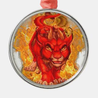Ornement Rond Argenté dragon-lion