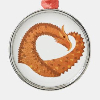 Ornement Rond Argenté Dragon orange brûlé de coeur sur le blanc