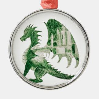 Ornement Rond Argenté Dragon vert