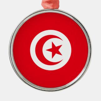 Ornement Rond Argenté Drapeau de la Tunisie