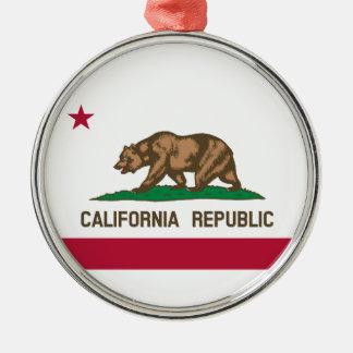 Ornement Rond Argenté Drapeau d'état de la Californie