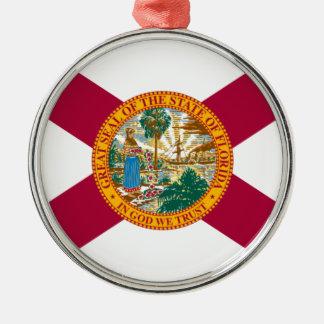 Ornement Rond Argenté Drapeau d'état de la Floride