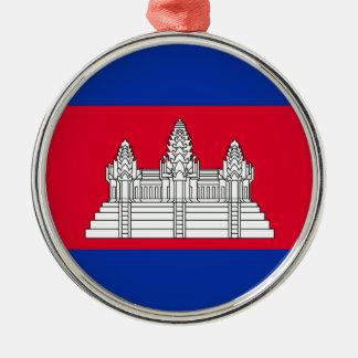 Ornement Rond Argenté Drapeau du Cambodge