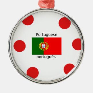 Ornement Rond Argenté Drapeau du Portugal et conception portugaise de