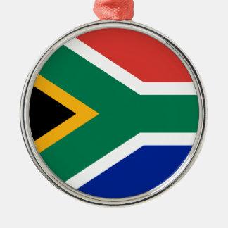 Ornement Rond Argenté Drapeau national sud-africain