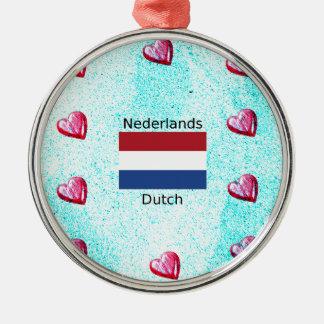 Ornement Rond Argenté Drapeau néerlandais et conception néerlandaise de
