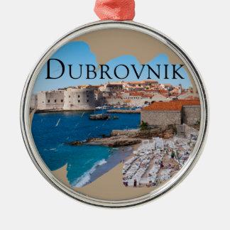 Ornement Rond Argenté Dubrovnik avec une vue