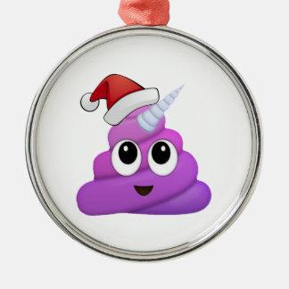 Ornement Rond Argenté Dunette Emoji de licorne de Noël