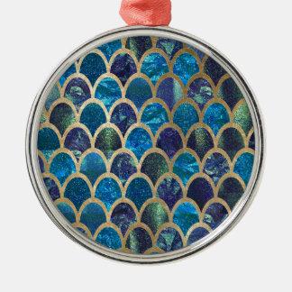 Ornement Rond Argenté Échelles turquoises de sirène